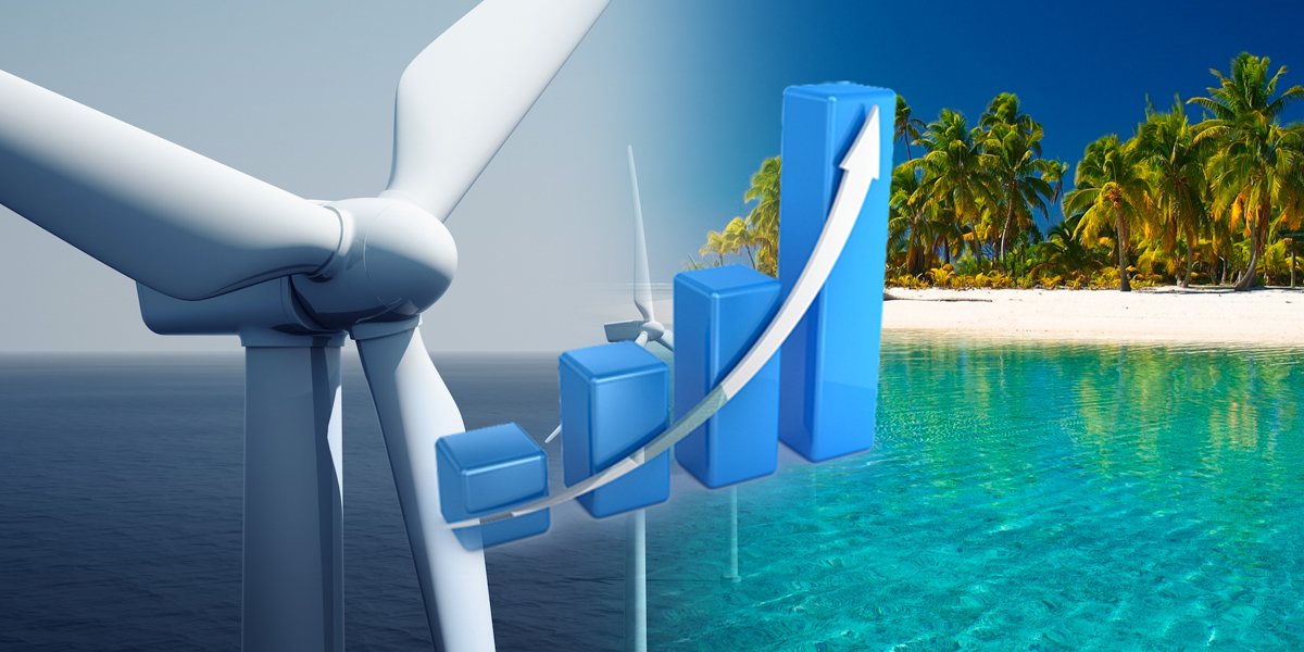 Image composite of wind turbines a graph and  beach